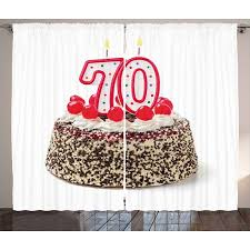 70th Birthday Decorations Curtains 2 Panels Set Birthday Cake With