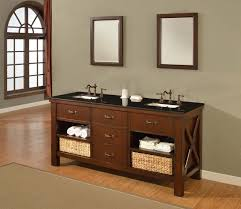 picture of 70 espresso xtraordinary spa double vanity sink cabinet with black granite