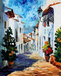 white street palette knife oil painting on canvas by leonid afremov size 24
