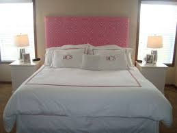 Pretty Pink Pattern Headboard For Teenage Girl Bedroom With White Bed Sheet  And Double Table Lamp ...