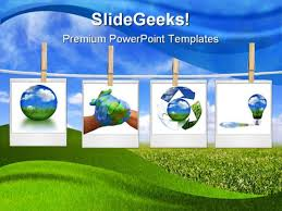 photo collage template powerpoint recycle collage globe powerpoint template 0810