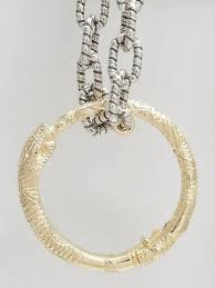 snake ring pendant necklace in gold and silver