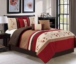 7 Piece Embroidered Cherry Blossom Burgundy/Taupe/Ivory Comforter Set -  Walmart.com