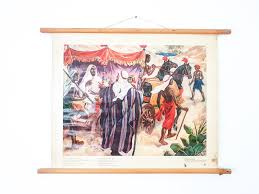 Old Linen School Chart Biblical Painting Religious Wall