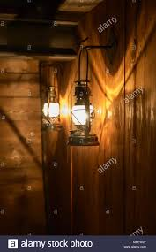 Old Gas Wall Lights Beautiful Light And Shadows Are Reflected On The Wooden Wall