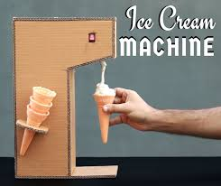 picture of ice cream vending machine from paper cardboard