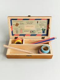 Image Tissue Moon Picnic Wooden Pencil Box