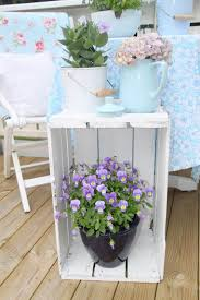 simple painted wooden crate plant stand