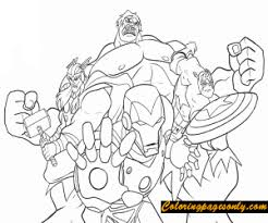 Find more coloring pages online for kids and adults of avengers endgame the hulk coloring pages to print. Iron Man Thor Hulk And Captain America From Avengers Coloring Pages Cartoons Coloring Pages Free Printable Coloring Pages Online