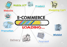 Commerce Chart E Commerce Business Concept Chart With Keywords And Icons On