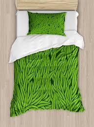 green duvet cover set hand drawn style grass pattern abstract simplistic environmental growth eco decorative bedding set with pillow shams
