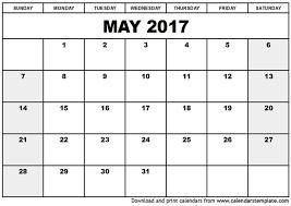 May Blank Calendars Printable May 2017 Calendars Print Blank Calendars