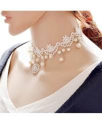 kissweet white lace choker necklace elegant necklace pearl pendant choker for women c412jwlscxv