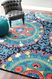interesting-blue-nuloom-rugs-on-dark-pergo-flooring-