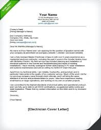 Cover Letters For Resume Electrician Cover Letter Sample Cover ...