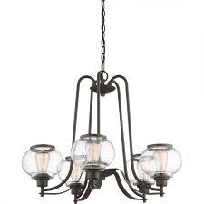 Quoizel Trilogy Lighting Quoizel Trg5005oz Trilogy 5 Light Chandelier In Old Bronze With Clear Seedy Glass Shade
