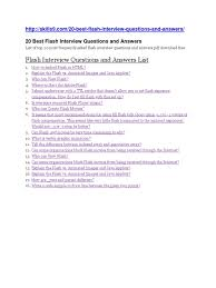 Top 20 Interview Questions 20 Best Flash Interview Questions And Answers Docshare Tips