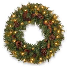 national tree company 24 in pine cone artificial wreath with clear lights national tree company wreaths n26