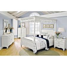 Bedroom Furniture - Plantation Cove White Canopy Queen Bed | Glam ...