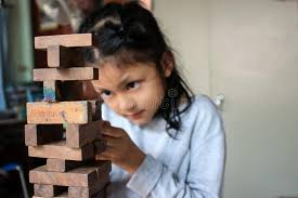 Game Played With Wooden Blocks Asian Girls Playing JengaThe Wooden Blocks Games Of Physical 98