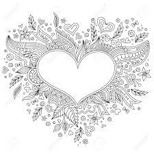 Kleurplaat Bloemenhart Valentijnsdag Kleurplaat Met Details Op