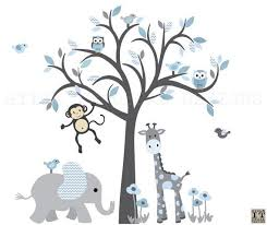 Monkey Wall Decal Jungle Animal Tree Decal By StickItDecalDesigns Wandtattoos  Kinderzimmer, Wandgestaltung Kinderzimmer Jungen,