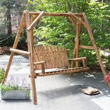outside swing bench. Delighful Outside Wood Porch Swing Bench Deck Yard Outdoor Garden Patio Rustic Log Frame Set  New On Outside M