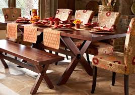 rustic dining room design with trestle pier one wood table