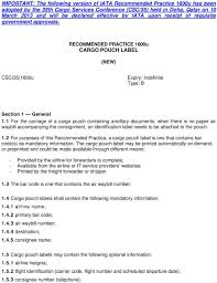 Recommended Practice 1600u Cargo Pouch Label New Pdf