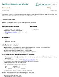 Writing Descriptive Words Lesson Plan Education Com Lesson