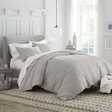 under the canopy drizzle grey brushed 3p king duvet cover set organic cotton