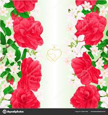 Camellia Interior Design Floral Border Seamless Vertical Background Flowers Camellia