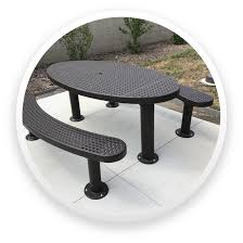 picnic table to a concrete surface an umbrella hole is standard on models the champion style s are offered with poly vinyl coated expanded