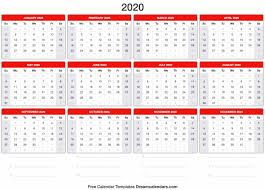 Blank Printable 2020 Yearly Calendar On We Heart It