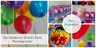 Party Planning Lists Kids Party Planning List Free Printables