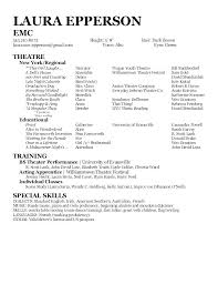 Samples Of Acting Resumes Musical Theatre Resume Examples Child