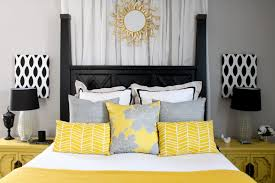 image of top gray and yellow bedroom