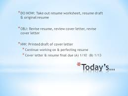 Do Now Take Out Resume Worksheet Resume Draft Original Resume
