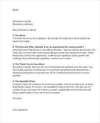 Resignation Letter Church Position 9 Church Resignation Letter Template Free Sample Example Format