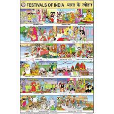 Photo Chart Of Indian Festivals Festivals Of India Chart 50x75cm