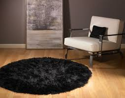 details about round black faux fur bear rug 5 new