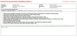 Production Helper CV Work Experience Sample Career Cover Letter  Free Job Descriptions  Resume Samples Production Helper Resume Work Experience Sample