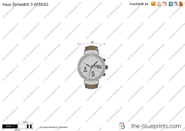 Asus Zenwatch 3 WI503Q vector drawing