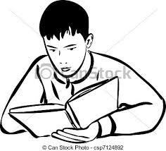 boy reading a book outline csp7124892