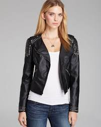 guess jacket faux leather moto in black lyst