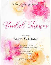 Free Bridal Shower Invite Templates Bridal Shower Invitation Template With Abstract Roses On Watercolor