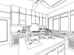 kitchen drawing perspective. Delighful Kitchen Outline Sketch Drawing Interior Perspective Of House Royaltyfree  Inside Kitchen Drawing Perspective