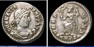 NumisBids: London Coins Ltd Auction 157, Lot 1750 : Gratian. Ar siliqua. C,  375-378 AD. Rev; VRBS ROMA; Roma seated...
