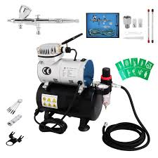 voilamart dual action airbrush compressor kit 1 6 hp art paint 9cc cup air brush equipment