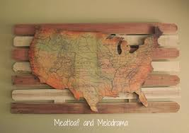 diy rustic wood wall art with usa map
